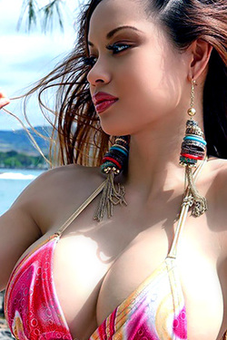 Francine Dee in 'Exotic Curvy Beauty in Sexy Bikini on the Beach' via Francine Dee's Site