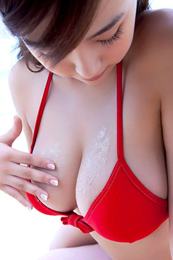 Ai Shinozaki in 'Boobies in Red Bikini' via Idols69