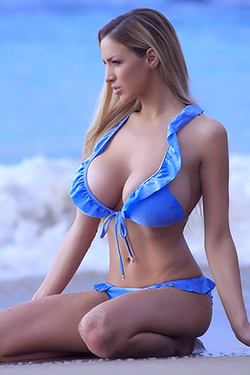 Jordan Carver in 'Blue Bikini' via Jordan Carver Official