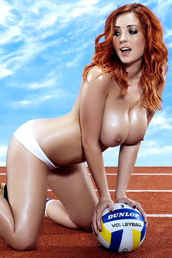 Lucy Collett in 'Volleyball Catfight' via Busty Brits
